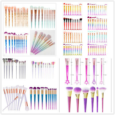 AU12.99 • Buy 3D Mermaid Unicorn Stars Makeup Brushes Set Pro Face Eye Foundation Powder Eye