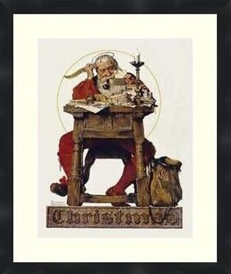 $ CDN61.34 • Buy Norman Rockwell Santa Reading His Mail Prints Matted And Framed Christmas Poster