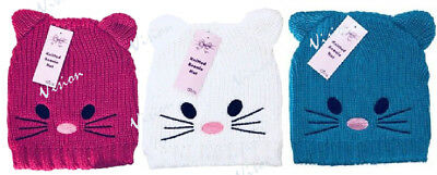 Kids Childrens Novelty Cat Hat With Ears. Cat Face Beanie Winter Ski Hat • 3.99£