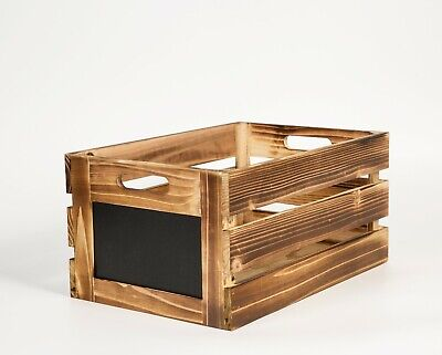 Wooden Crates With Blackboard Retail Display Storage Gift Box • 10.99£