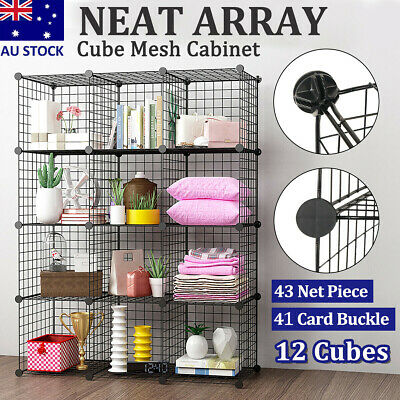AU66.59 • Buy 6/8/12 Cube White DIY Wire Storage Shelves Cabinet Metal Display Shelf Toy Book