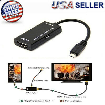 Micro USB To HDMI Cable MHL Adapter For Android Phone LG Huawei Samsung Sony HTC •