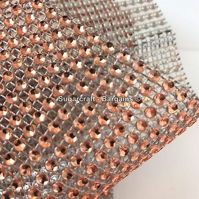 ROSE GOLD Metalic Diamante Effect Mesh Ribbon Wedding Bridal Rhinestones Cake  • 1.98£