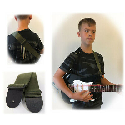 Small Guitar Strap Army GREEN Children Kids 19 MUSIC 3/4 Harness Girls Boys Uni • 3.49£