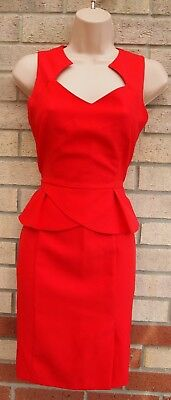 £10.99 • Buy Dorothy Perkins Red Tailored Peplum Ruffle Bodycon Formal Party Pencil Dress 6