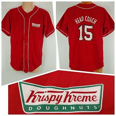 $35.99 • Buy RARE Krispy Kreme Doughnuts Red Medium Baseball Button Jersey Shirt Head Coach
