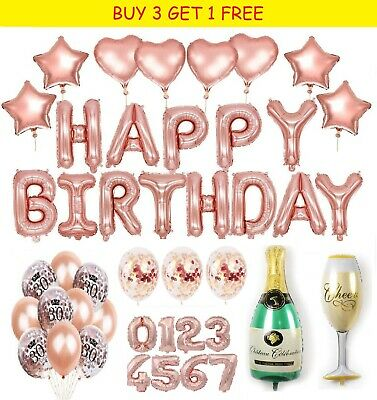 Rose Gold Foil And Latex Balloons Sets Helium Wedding Birthday Hen Party Decor  • 3.95£