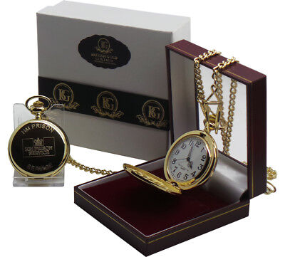 HMP PRISON Pocket Watch  24k Gold Clad Luxury Gift Jail HM Warden Officer Gifts • 29.99£