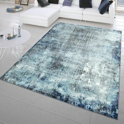 Modern Short Pile Rug Abstract Painting Look Maritime Design In Blue • 29.37£