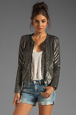 $ CDN330.81 • Buy IRO Bush Sequin + Leather Jacket - 2 Or Small FR 38 US 6