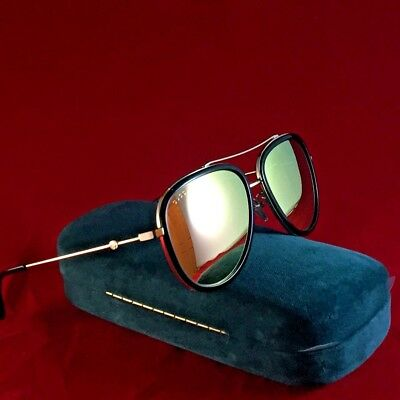 c31d47b9c9 Authentic Gucci GG0062S 001 57mm Urban Collection Black Gold Aviator  Sunglasses • 229.99