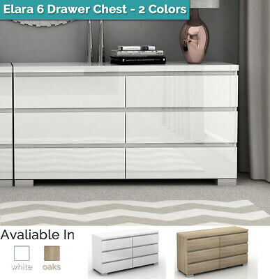 AU296.50 • Buy Tallboy Dresser 6 Chest Of Drawers High Gloss Table Cabinet Bedroom Storage