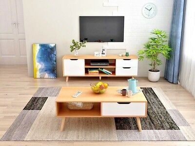 AU52.20 • Buy 120cm Pine TV Stand Entertainment Unit Cabinet Storage Drawer And Coffee Table