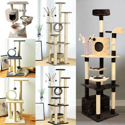Large Cat Tree Condo Tower W/ Scratching Post And Pad Kitty Play House Furniture • 34.95£