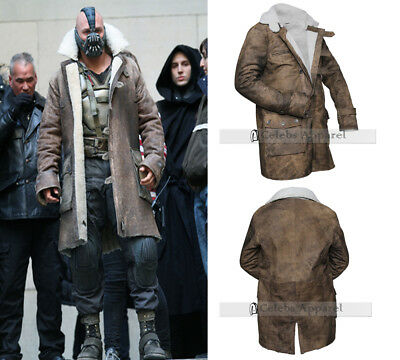 $179.98 • Buy Men Distressed Leather Bane Coat The Dark Knight Rises Winter Fur Leather Jacket