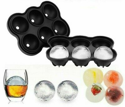 Large Ice Cube 6 Ball Tray Maker Silicone Mould Sphere Whiskey Round UK Seller • 7.99£