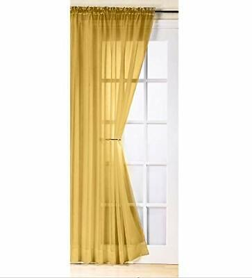 £14.99 • Buy Ochre Mustard Gold Sheer Voile Curtain Panel Sold Single Or In A Pair 4 Drops