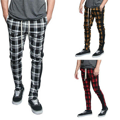 $19.95 • Buy Victorious Men's Plaid Checkered Ankle Zipper Drawstring Track Pants S~5XL TR537