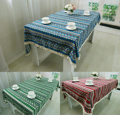 AU29.50 • Buy Tablecloth Dining Table Cover Cotton Linen Vintage Ethnic Dust Proof Cloth