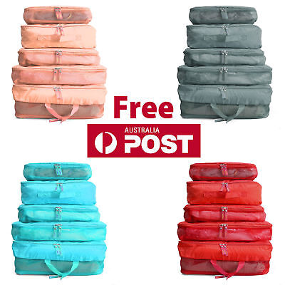AU9.41 • Buy 5pcs Packing Cube Pouch Suitcase Clothes Storage Travel Bags Luggage Organiser