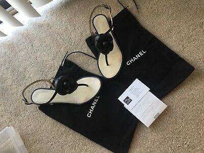 a13c6ac7c19 Chanel Black Leather Camellia Flower Thong Sandals Size 38 • 450.00
