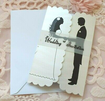 £1.50 • Buy Silhouette Gatefold Wedding/ Evening Invitations With Vellum Band And Envelopes
