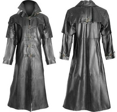 Men's Steampunk Gothic Leather Trench Coat Jacket Hugh Jackman Van Helsing Coat • 93.99£