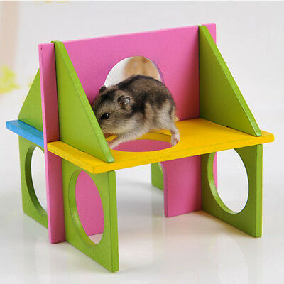 £5.85 • Buy Wooden Hamster Gym Rat Mouse Exercise Playground Climbing Pet Toy