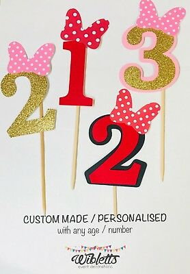 AU12 • Buy MINNIE MOUSE THEME PARTY 1st 2nd 3rd BIRTHDAY CAKE TOPPER. SPOT BOW PINK RED