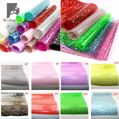 £1.64 • Buy Clear Iridescent Holographic PVC Vinyl Star Fabric Bow Earring Making Craft A4