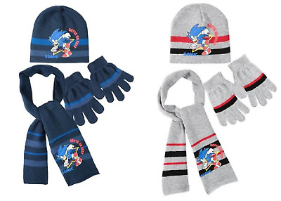 New Boys Sonic 3 Pcs Winter Hat Gloves & Scarf Set Age 3-9 Years • 11.99£
