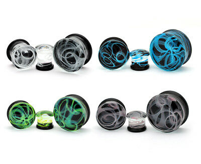 $9.49 • Buy Pair Of Glass Swirl Double Flare Plugs Set Gauges PICK YOUR SIZE AND COLOR