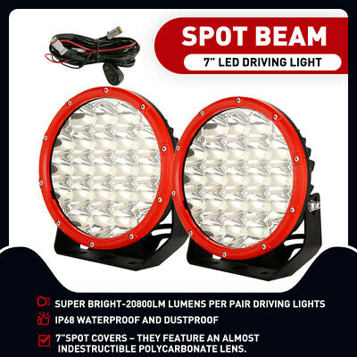 AU85.95 • Buy 7 Inch Round LED Driving Lights Offroad Spot 4x4 SpotLights Lamp OSRAM Black SUV