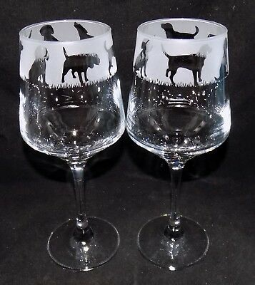 New Etched  BEAGLE  Wine Glass(es) - Free Gift Box - Large 390mls Glass • 13.99£