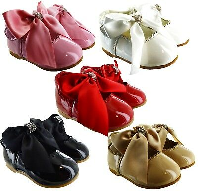 £11.95 • Buy Kids Infants Baby Girls Bow Diamante Spanish Wedding Party Patent Toodler Shoes