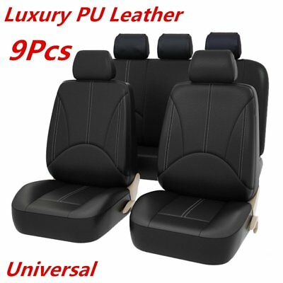 $ CDN53.79 • Buy 9PCS Black PU Leather Car Seat Cover Full Seat Cover Set Mat Protector!