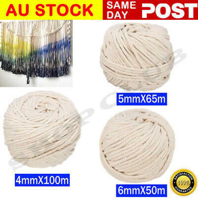 AU17.95 • Buy 4/5/6mm Macrame Rope Natural Beige Cotton Twisted Cord Artisan Hand Craft Decor