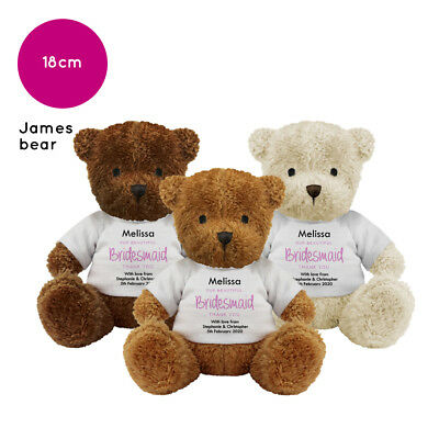 £10.56 • Buy Personalised Name Bridesmaid James Teddy Bear Wedding Favour Thank You Gift