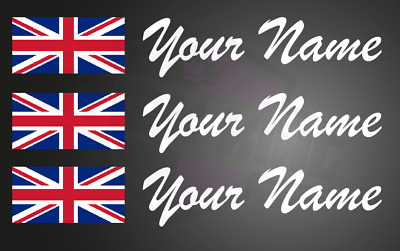 £5 • Buy 3 X Driver Name Stickers - Race Car Motorsport Track Day UNION JACK Flag Decals