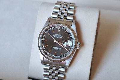 AU9699 • Buy ROLEX Datejust 16234 - Black Dial, 18k White Gold Stainless Steel, Jubilee