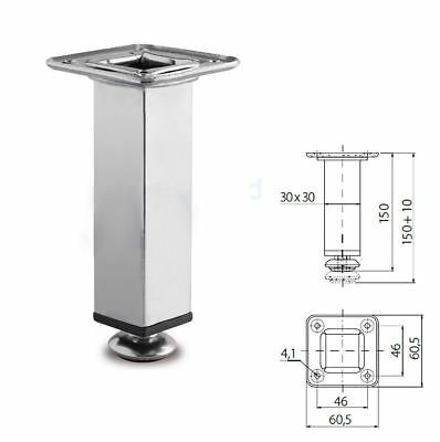 Chrome Feet Legs Sofa Beds Cupboard Cabinets Kitchen Furniture 150mm+10mm • 2.45£