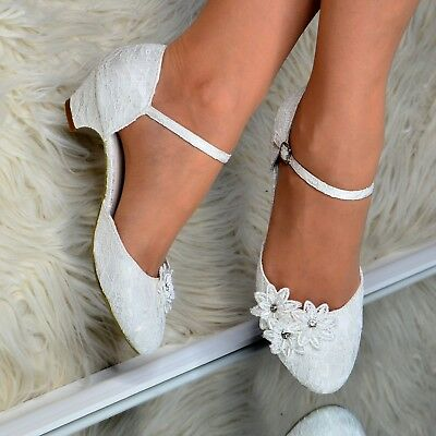 Ladies Ivory Wedding Low Kitten Heels Lace Satin Shoes Mary Jane Pumps Bridal  • 22.95£
