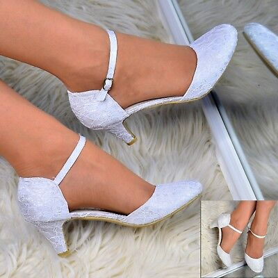 Ladies Bridal Lace Shoes Wedding Mary Jane Ankle Strap Court Shoes Closed Size • 19.95£