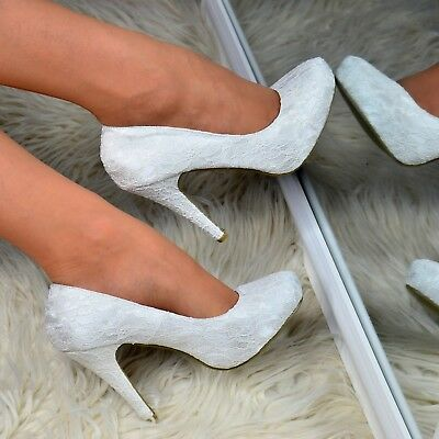 Ladies Ivory Wedding High Heels French Lace Bridal Satin Shoes Closed Pumps Size • 18.95£