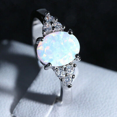 $6.99 • Buy Fire Opal Ring In 925 Genuine Sterling Silver Gemstone Jewelry Ring Size 6 7 8 9