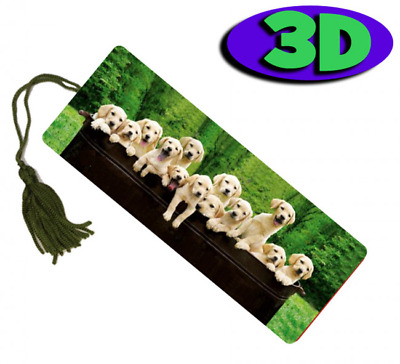 £2.93 • Buy Labrador Pups Lineup Moving 3D Hologram Bookmark With Tassel - Book Place Holder