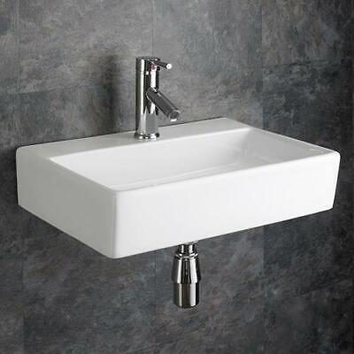 Wall Mounted Sink Rectangular Bathroom Basin 510mm X 360mm Large White Sink • 109£