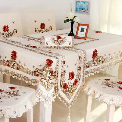 $12.48 • Buy White Embroidered Lace Tablecloth Rectangle Table Cloth Valentine's Day Decor