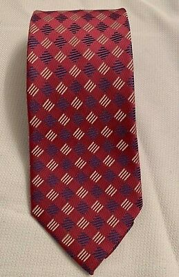 $29.99 • Buy Charvet Mens 100% Silk Tie  | Fuschia Blue White Geometric Pattern Necktie