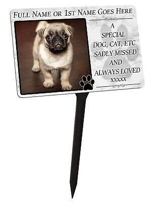 £12.99 • Buy Your Photo Personalised For Pet, Dog, Cat Memorial Plaque & Stake. Garden Grave